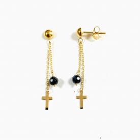 Long earrings gold 18 kt pe03413